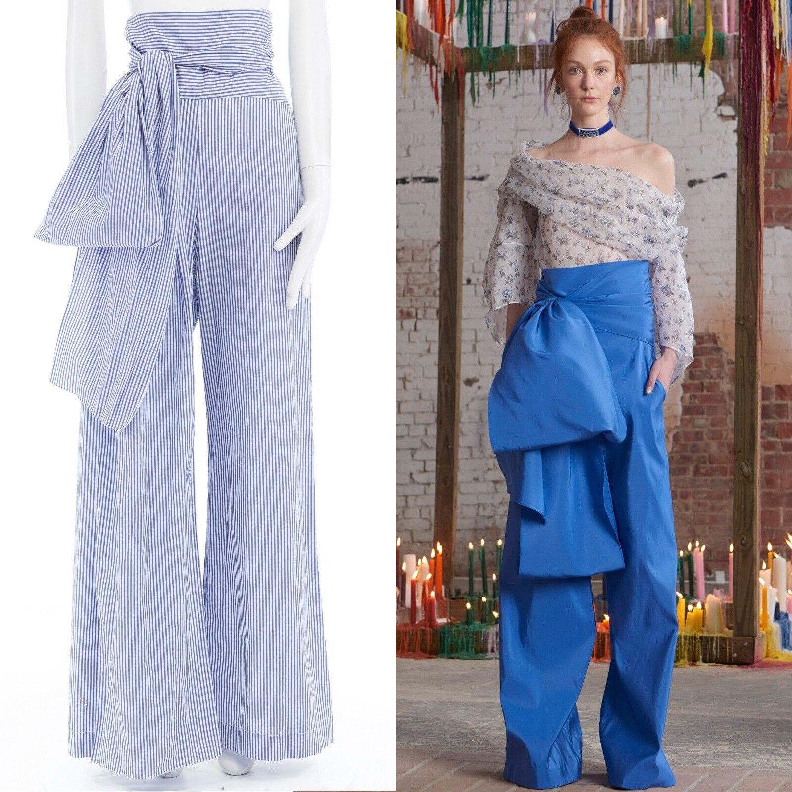 New ROSIE ASSOULIN AW16 bluee white pinstripe cotton highwaist sash wide pant US6