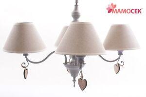 LAMPADARIO-GRIGIO-4-bracci-CUORE-paralume-ECRU-039-lampada-a-soffitto-Shabby