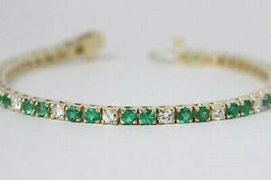 8-00-Ct-14K-Yellow-Gold-Over-Round-Emerald-Green-Women-039-s-Tennis-Bracelet-7-5-034