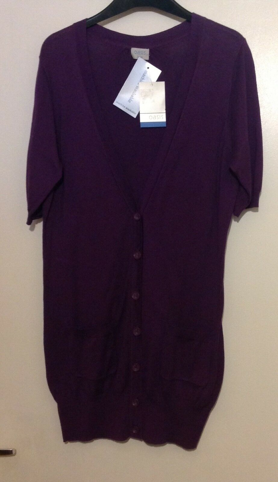 OASIS Purple Cardigan Size 12 Brand New With Tags 100% Cotton Button Front