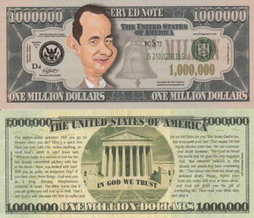 Set of 25 Celebrity Caricature Million Dollar Tract Funny Money Notes SLEEVES