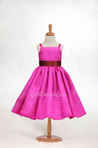 FUCHSIA HOT PINK SPAGHETTI STRAPS FLOWER GIRL DRESS 12-18M 2//2T 3//4 5//6 8 10 12