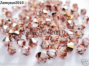100Pcs-Top-Quality-Czech-Crystal-Bicone-Beads-Exclusive-3mm-4mm-Capri-Gold