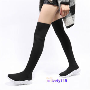 6474a948f6d Womens Knitting Stretch Thigh High Over Knee Boots Pull On Sneaker ...