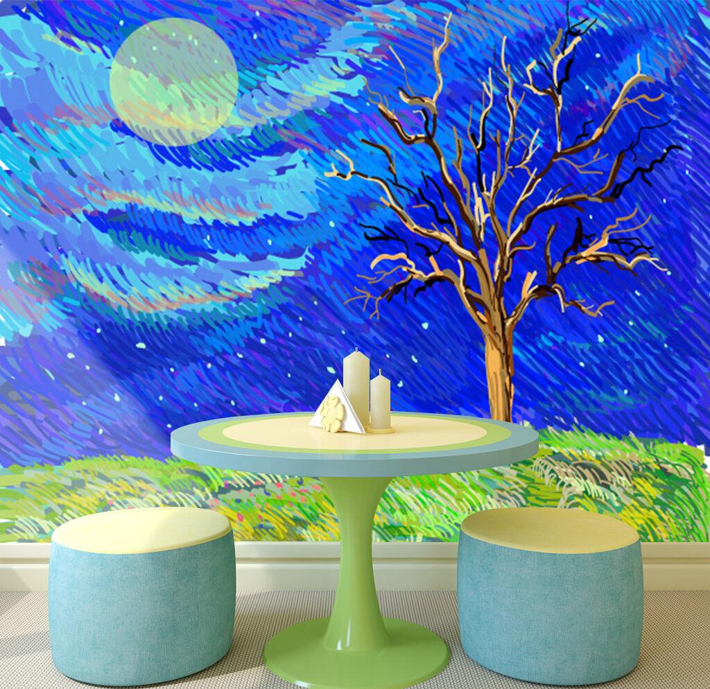 3D Schöne blaue Malerei 88 Fototapeten Wandbild Bild Tapete Familie Kinder