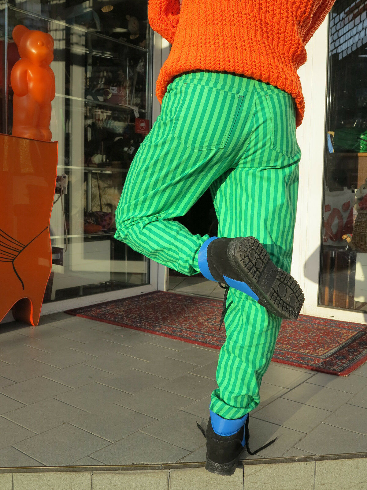 VEB gioventù moda dirigendoci verde a righe righe righe pantaloni 80er True VINTAGE verde STRIPED PANTS a98b69