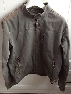 Burton-Olive-Green-Light-Cotton-Zipped-Jacket-Bomber-Men-039-s-Small-Autumn-Casual