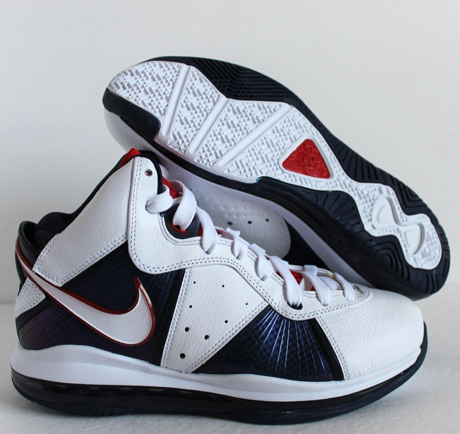 NIKE 2010 LEBRON 8 USA WHITE-MIDNIGHT NAVY-VARSITY RED SZ 8 [417098-100]