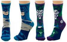 DC COMICS BATMAN & JOKER REVERSIBLE MENS CREW SOCKS LOGO CHARACTER POSE RETRO