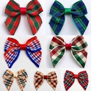 Tartan-Bows-Pre-Tied-Christmas-Blackwatch-4cm-Wide-Craft-Embellishments-6-12