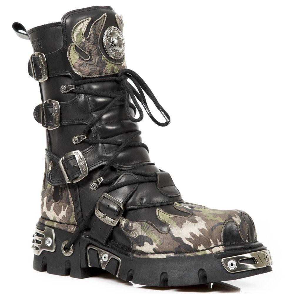 Newrock New Rock 591-S15 negro Metal Buckl Camuflaje Llamas De Cuero Biker botas