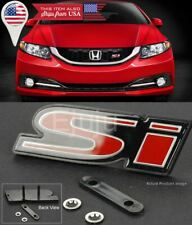 Oe Abs Front Si S I Black Red Grill Emblem Nameplate Logo Badge For Honda Civic Fits 2012 Honda Civic