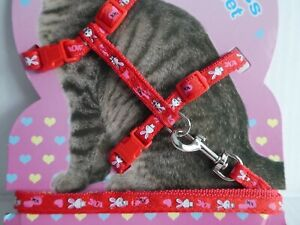 Brillant (ch005) Cat Chaton Réglable Harness & Lead Set Red Cartoon Lapin & Coeurs-afficher Le Titre D'origine