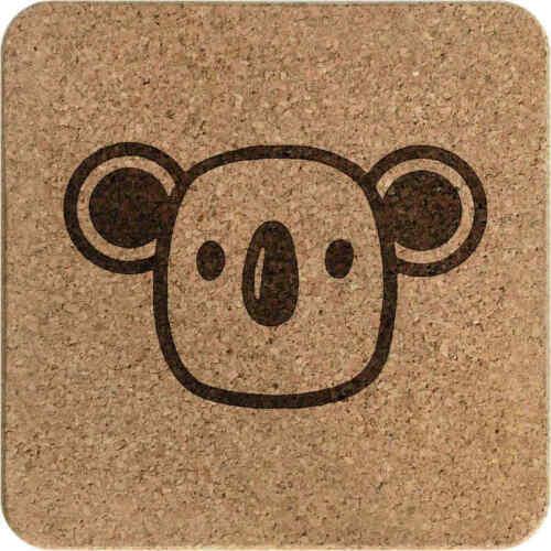 /'Koala Face/' Square Cork Trivet Pot Stand TR00012373