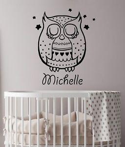 Details About Nursery Decor Personalized Name Wall Decals Owl Vinyl Sticker Kids Art La16