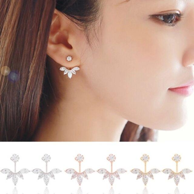 1 Pair Elegant Women Fashion Rhinestone Flower Ear Stud Crystal Earrings