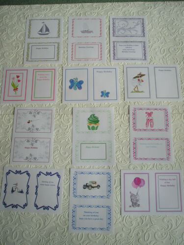 Partycascades assorted designs set of 24  A5 BIRTHDAY CARD INSERTS