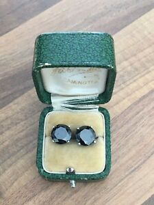 Lovely-Pair-of-Marked-Sterling-Silver-amp-Dark-Gem-Stone-Stud-Earrings-5-52gr