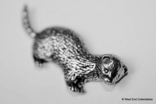 Weasel Polecat Feretting Hunting Ferret Pewter Pin Brooch British Hand Crafted