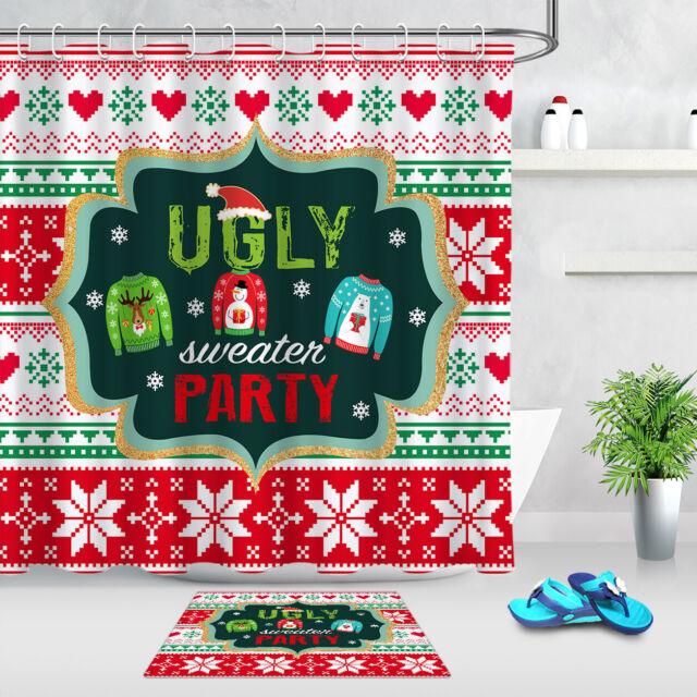 "Christmas Ugly Sweater Party Cute Snowman Shower Curtain Set Bathroom Decor 72/"""