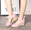 thumbnail 9 - Roman-Womens-Wedge-Mid-Heels-Strappy-Linen-Sandals-Pointy-Toe-Casual-Retro-Shoes