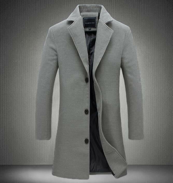New Stylish Mens Wool Blend Overcoat Slim Fit Long Trench Coat Business Casual