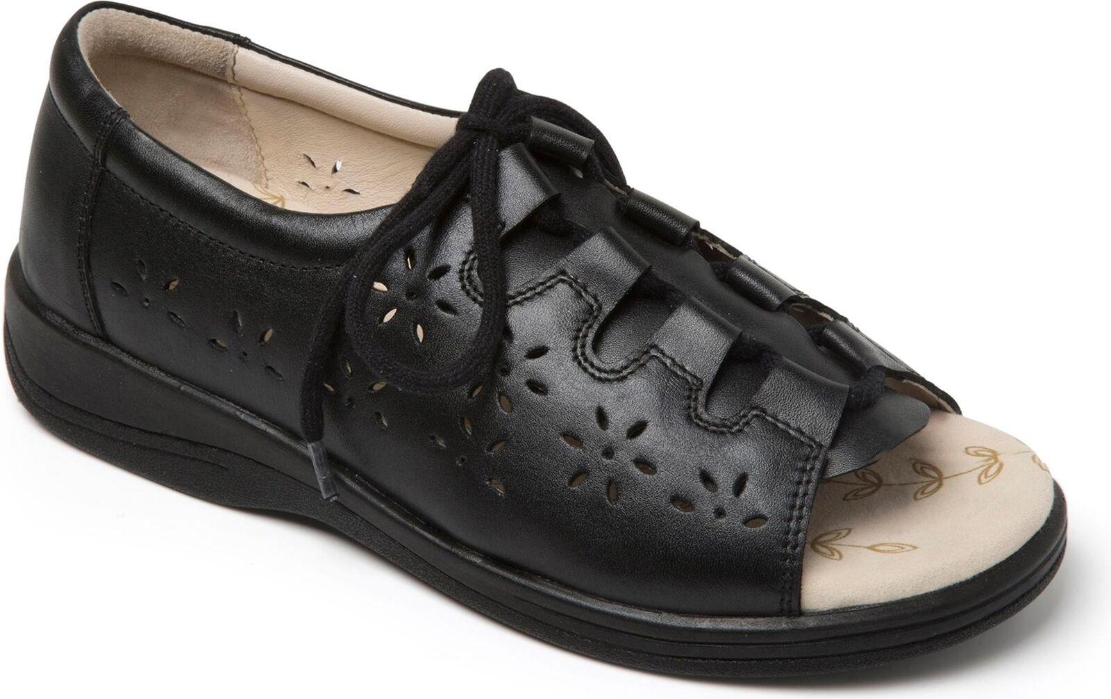 Padders littoral femme en cuir extra large (2E) Sandales Noir