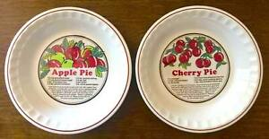 Sunnycraft-Sunny-039-s-Pride-Cherry-Apple-Pie-Plate-Sunstone-Collection-11-034-Lot-of-2