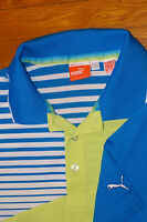 PUMA Cell Performance Polo Golf Shirt royal blue variegate stripe neon yellow XL