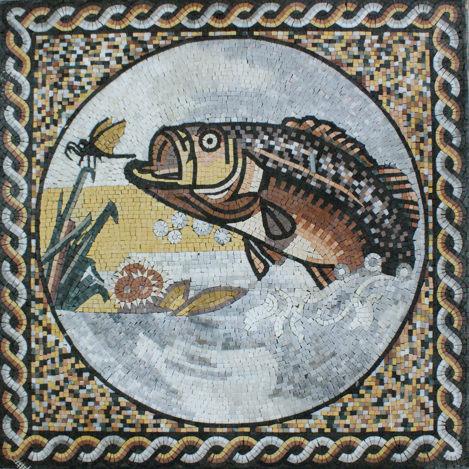 Art Tile Stone Big Fish Insect Marble Mosaic AN962