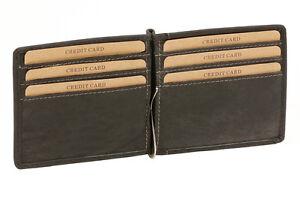 Dollar-Money-Clip-Geldscheinklammer-duenn-Vintage-LEAS-in-Echt-Leder-schwarz