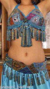 BELLY-DANCE-TURQUOISE-BLUE-SARI-TRIBAL-FRINGE-TASSEL-BRA-amp-BELT-SET-034-B-034-Cup