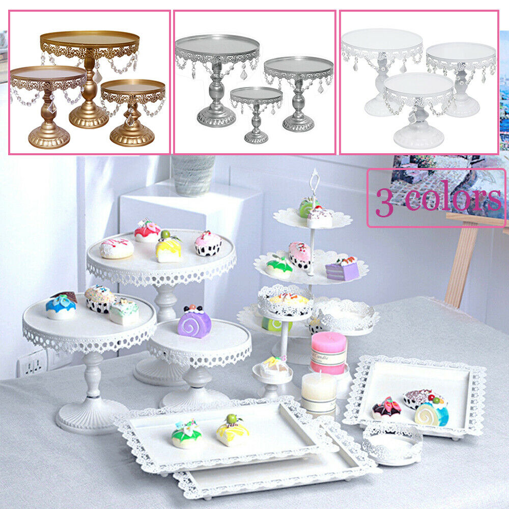 3pcs Wedding Party Cake Stand Home Decor Metal Cupcake Holder W Crystal For Sale Online Ebay