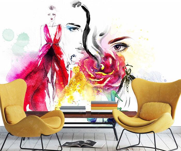 3D Woman Paint 410 Wallpaper Murals Wall Print Wallpaper Mural AJ WALL AU Lemon