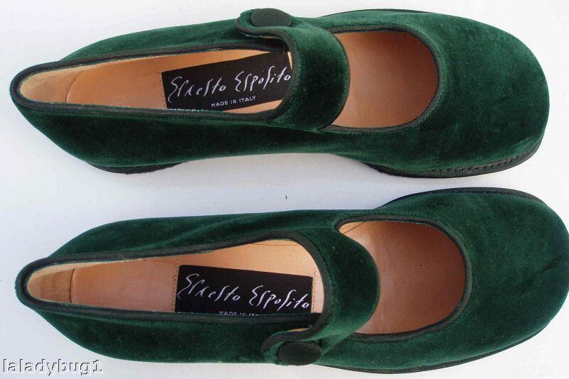ESPOSITO Green Maryjane Velvet Maryjane Green Shoes NEW 7.5 82b391