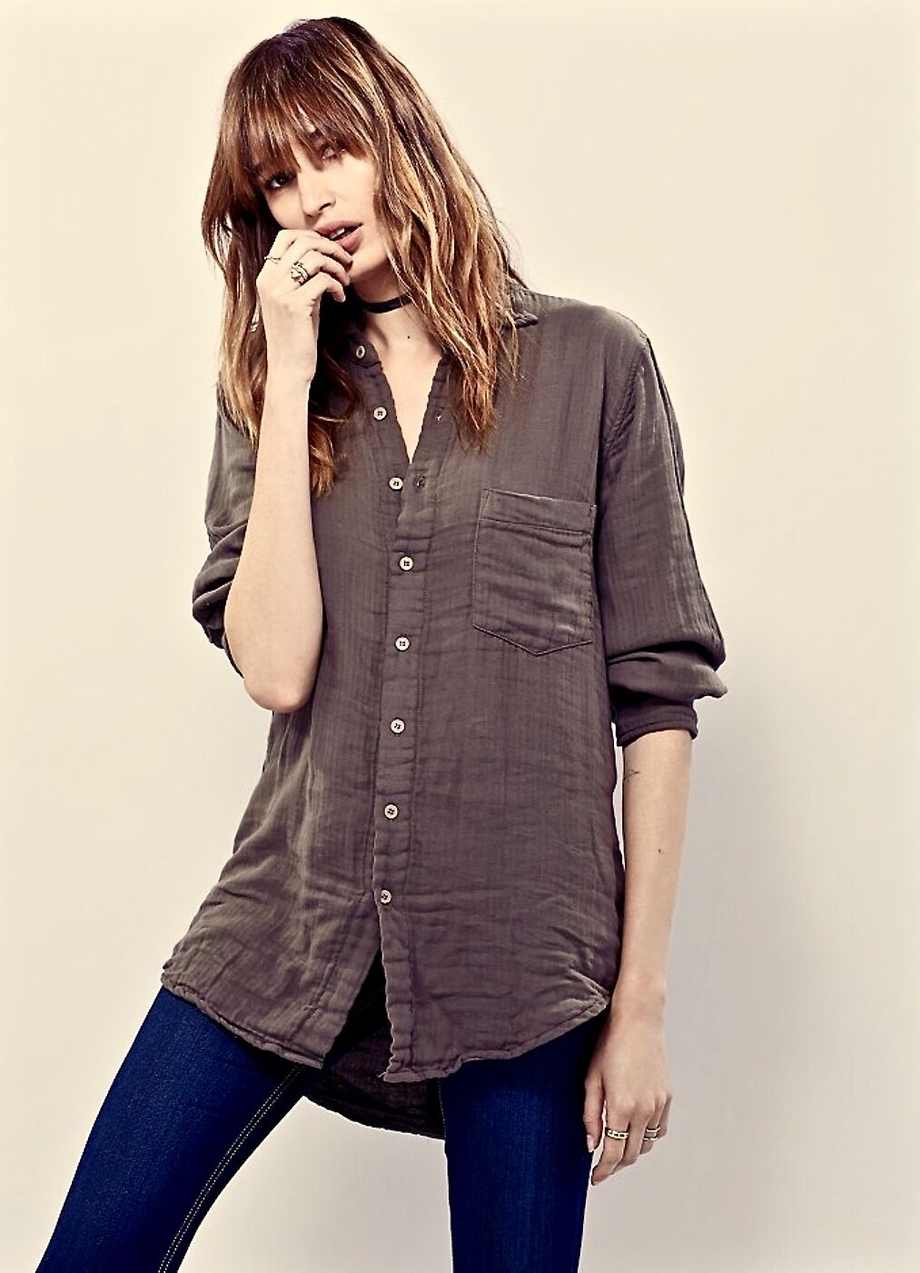 NEW CP Shades overGröße Grün Double Cloth Cotton Bought at Free People Shirt S