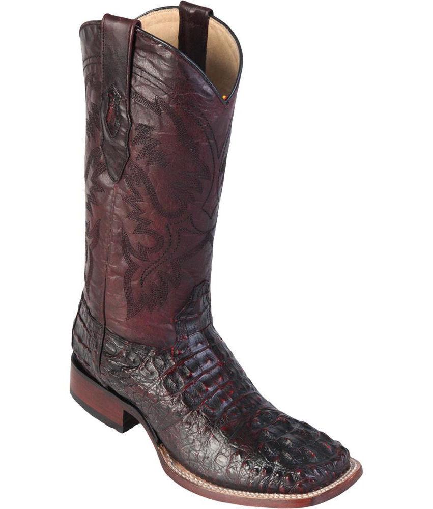 LOS ALTOS cerise Authentique Hornback CAIMAN CROCODIL Square Western Cowboy démarrage Extra Large +
