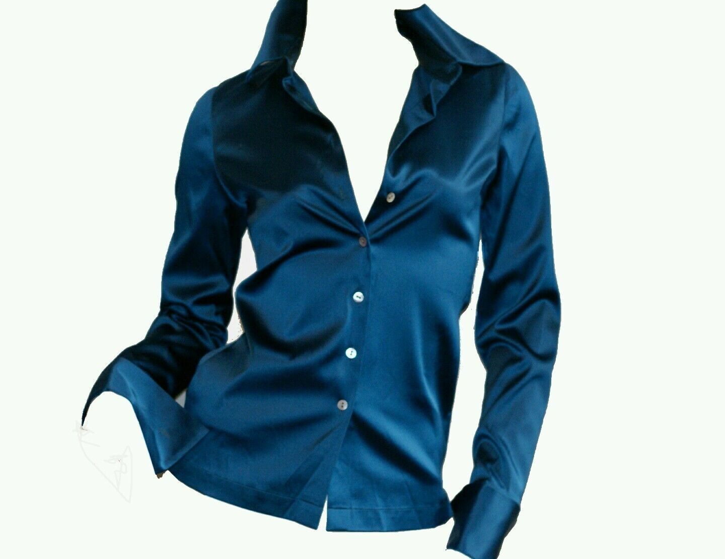 22 momme SILK Charmeuse Blouse Button LongSleeve FrenchCuff solid Blau Med 6 8