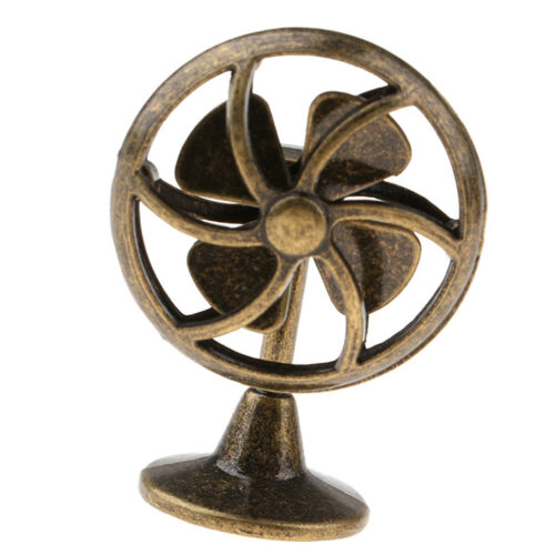 Old Fashioned Miniature Lobby Fan Toy For 1//12 Dollhouse Accessories Bronze