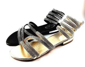 1e9ab521691 Italina DF7299 Slip On Flat Dress Rhinestone Wrap Around Sandals ...