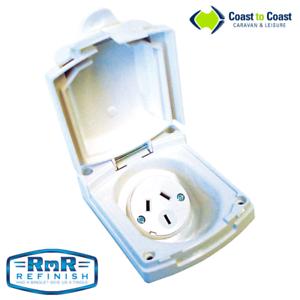 Clipsal-New-Style-White-External-10-Amp-Power-Outlet-Caravan-RV