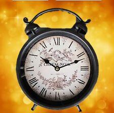 Wecker Uhr Tischuhren schwarzbraun rund Batterie Eisen Vintage Geschenk Sie+Ihn