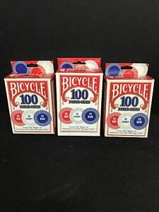 Lot-Of-3-Boxes-Bicycle-Poker-Chips-100-count-with-3-colors-1-5-034-New