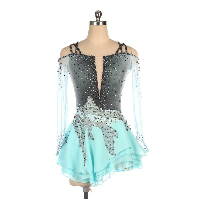 Competition Figure Skating Dress Turquoise & grau