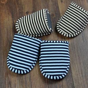 New Men Women Portable Stripes Travel Slipper Cotton Foldable Sandals
