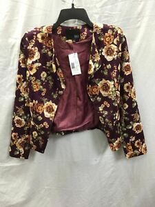 KAII OPEN CROP JACKET BURGUNDY FLORAL S -NEW WITHOUT TAG 5306