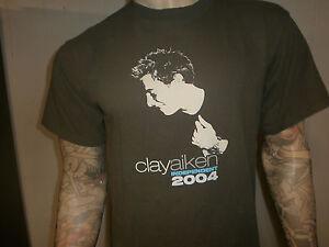 Clay-Aiken-Concert-T-Shirt-Independent-Tour-2004-Americain-Idole-Vert-Large