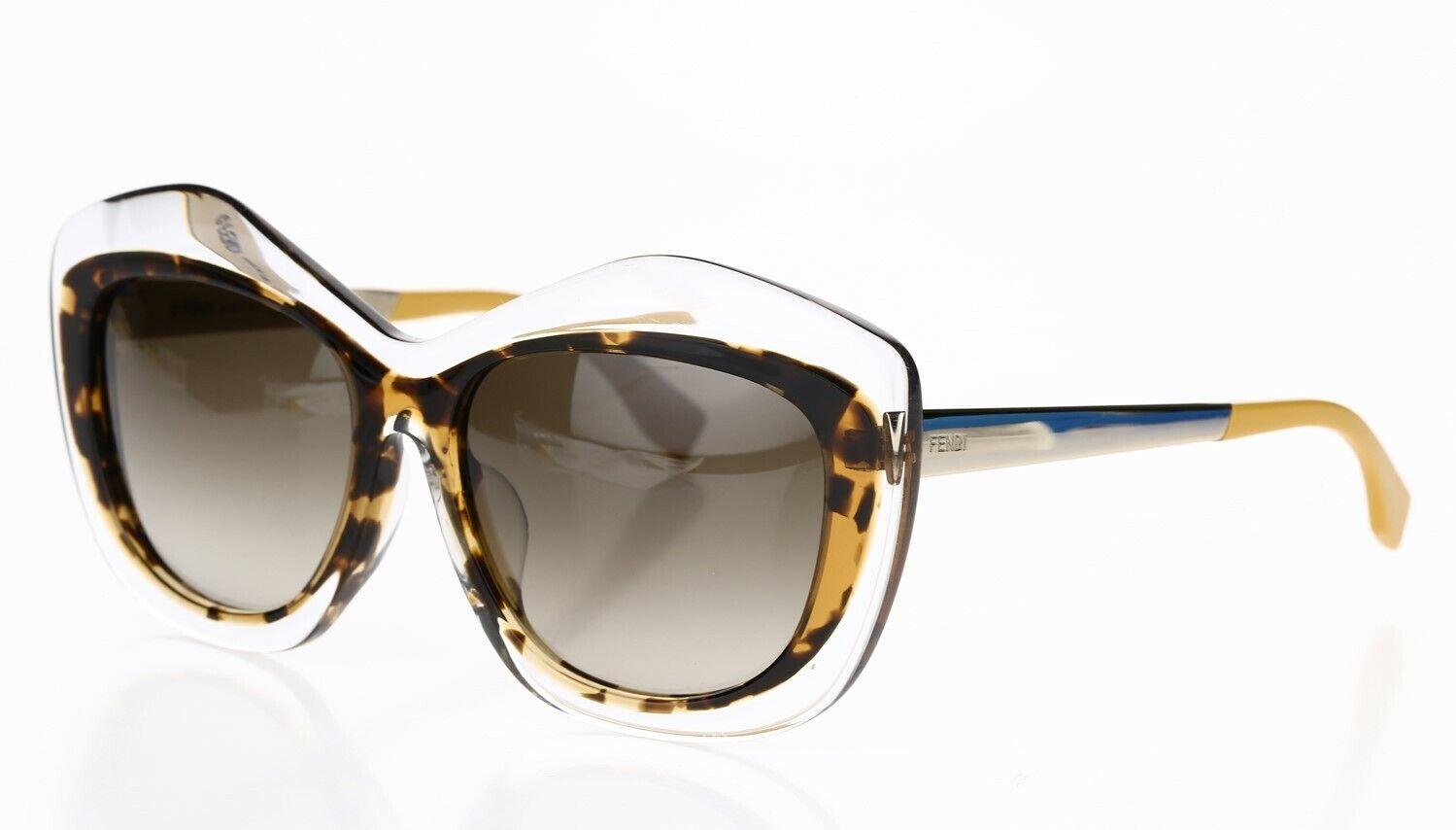 Fendi Women's Two Tone Cat Eye 56 mm Sunglasses in Havana Clear FF0029 140950