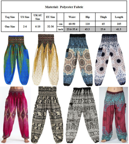 Thai Womens Aladdin Harem Pants Yoga Baggy Boho Hippie Alibaba Elastic Trousers