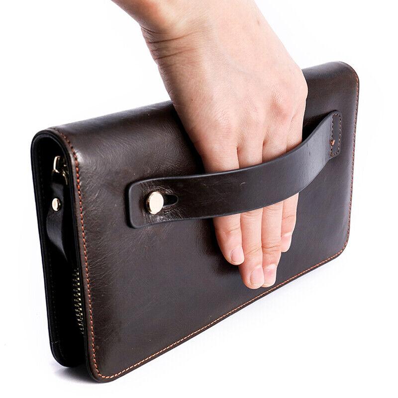 2020 Vintage Genuine Cowhide Leather Wallet Men's Travel Clutch Bag Bifold Purse